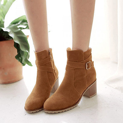 Suede Wrap Buckle Ankle Boots | Shop Elettra |