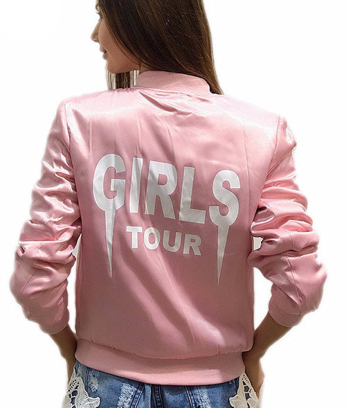 Girls Tour Pink Satin Bomber Jacket | Shop Elettra |