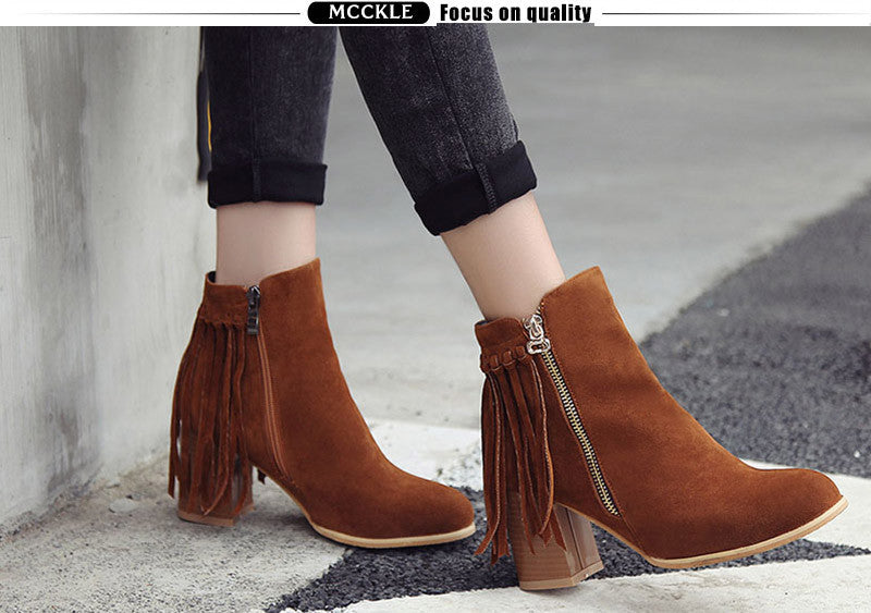Let Down Fringe Ankle Boots | Shop Elettra |