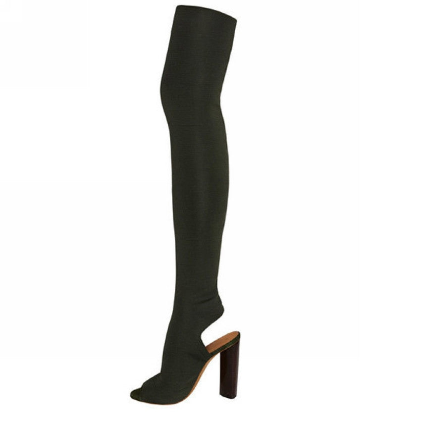 Kimmy Peep Toe Open Back Over The Knee Boots | Shop Elettra |