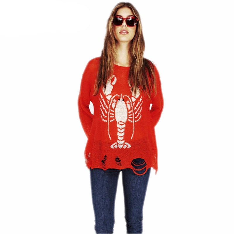 Lobster Destroyed Sweater | Shop Elettra |