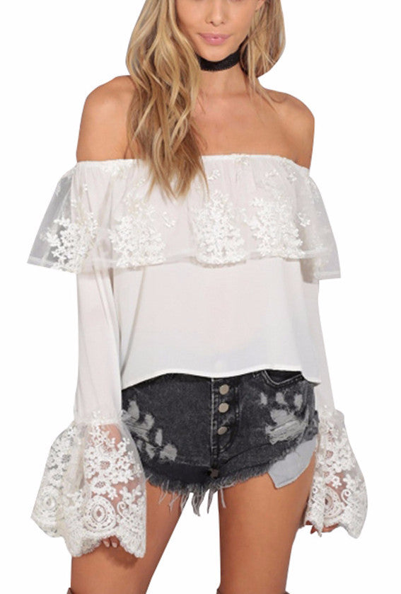 Peni Off The Shoulder Lace Ruffle Top | Shop Elettra |