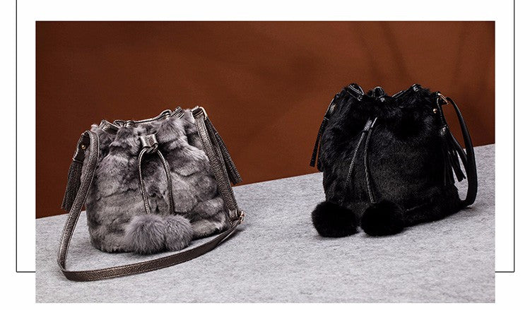 Winter Wonders Vegan Fur Bucket Bag | Shop Elettra |