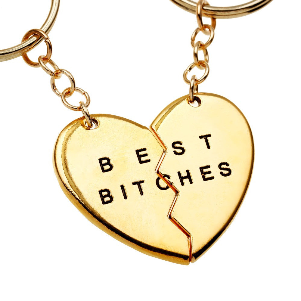 Best Bitches Gold Heart Friendship Keychain | Shop Elettra |
