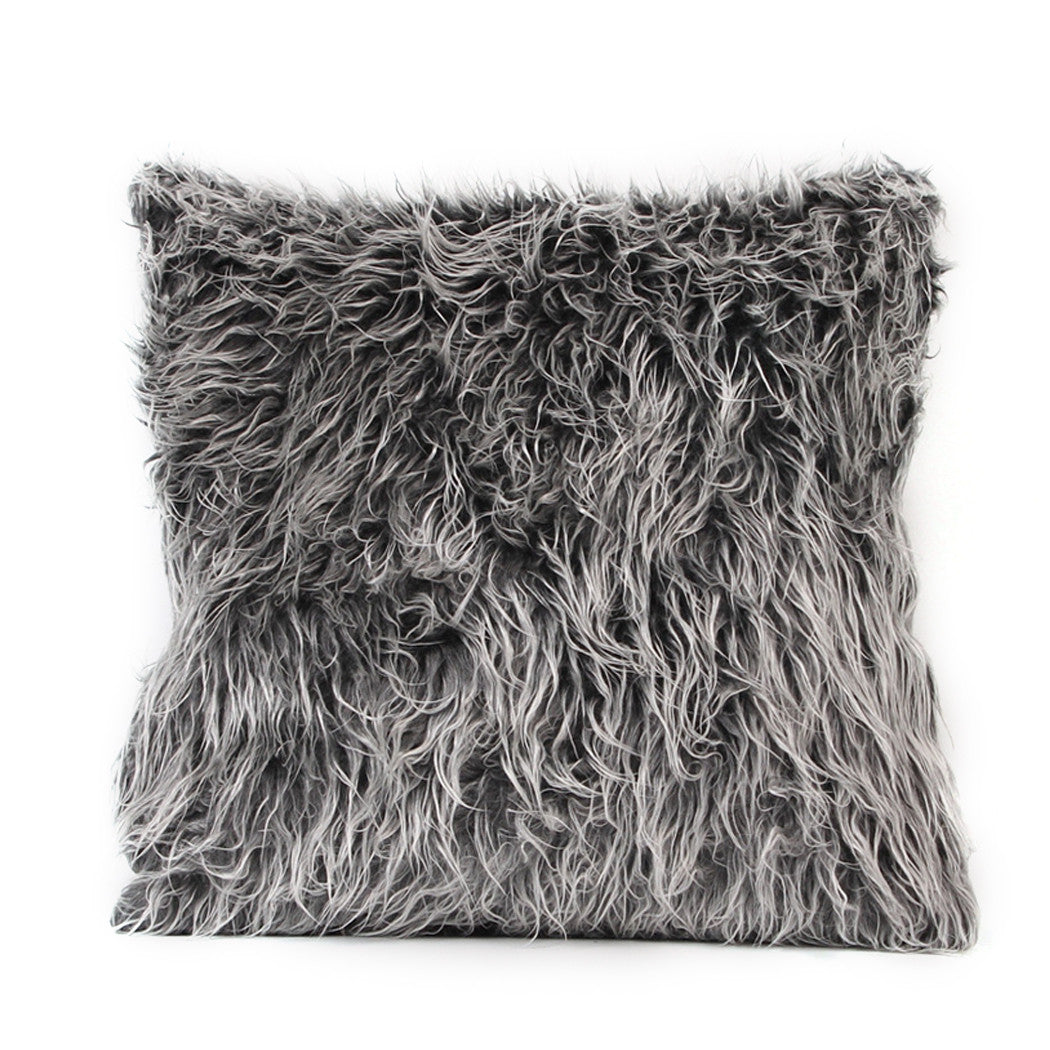 "Soft Plush Fur Throw Pillow Cover Home Decor Faux Fur Fleece 18"" Inches x 18"" Inches 