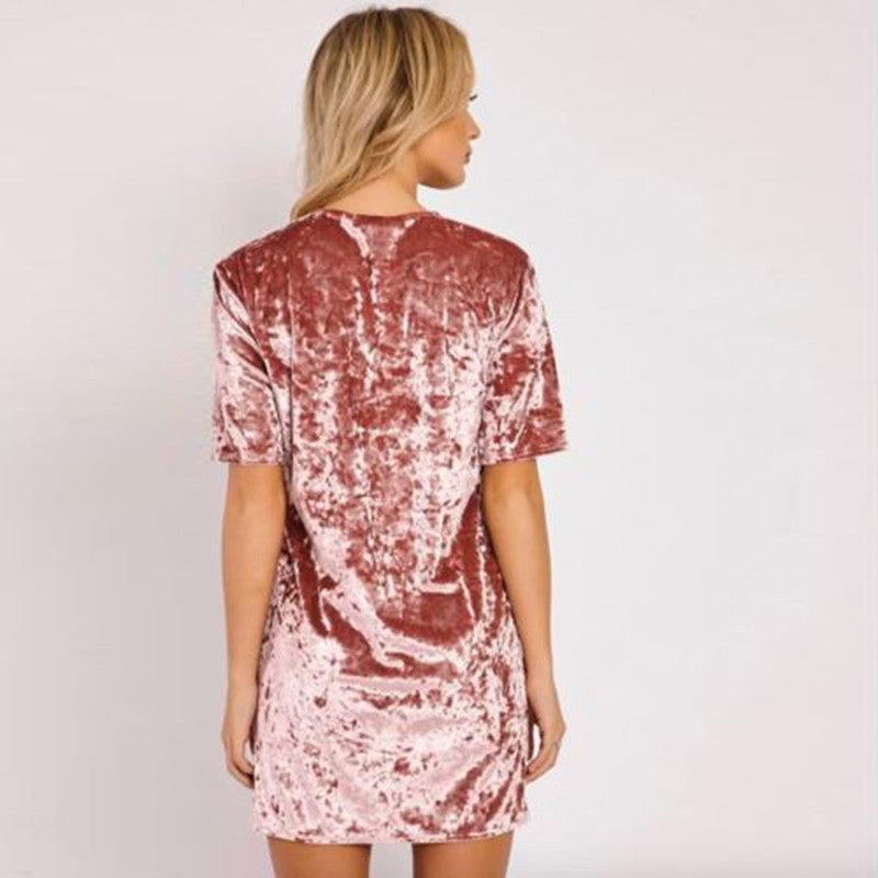 Taryn Short Sleeve Velvet Mini Dress | Shop Elettra |