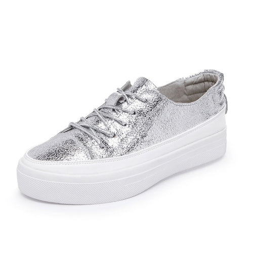 Metallic Leather Platform Sneakers | Shop Elettra |