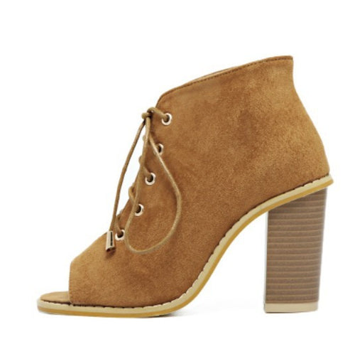 Sahara Lace Up Peep Toe Ankle Boots | Shop Elettra |
