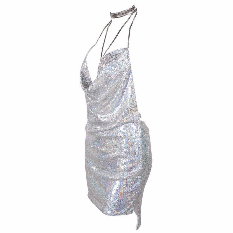 Sequin Choker Mini Dress | Shop Elettra |