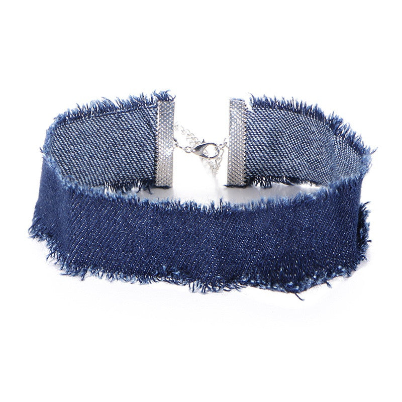 Distressed Denim Choker Necklace | Shop Elettra |