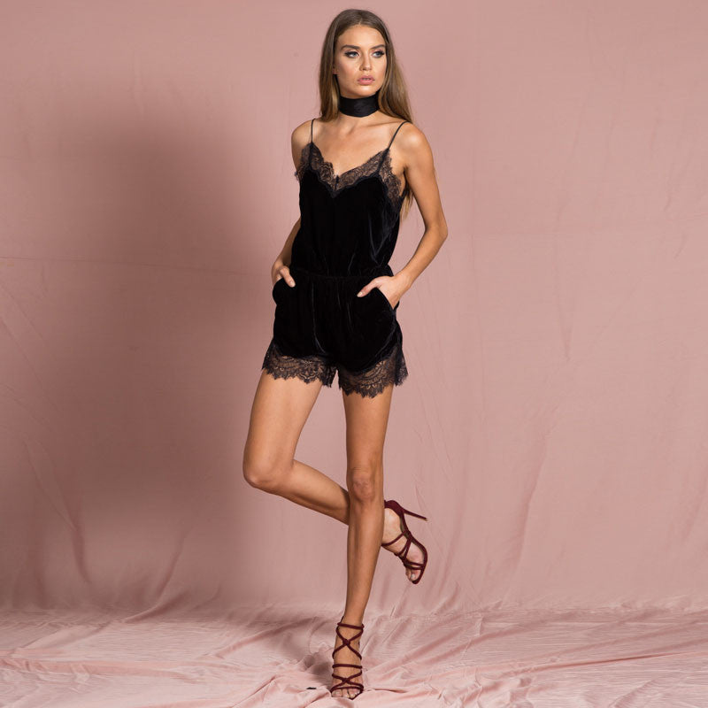 Lace Trim Romper in Black | Shop Elettra |