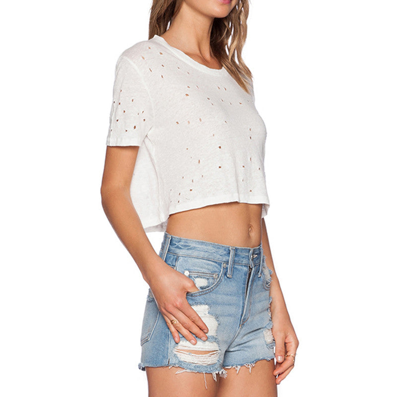Ripped Short Sleeve Crop Top Tee | Shop Elettra |