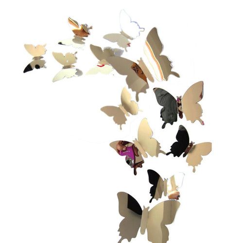 Metallic Shimmer Butterfly Wall Decal 3D Sticker Set | Shop Elettra |