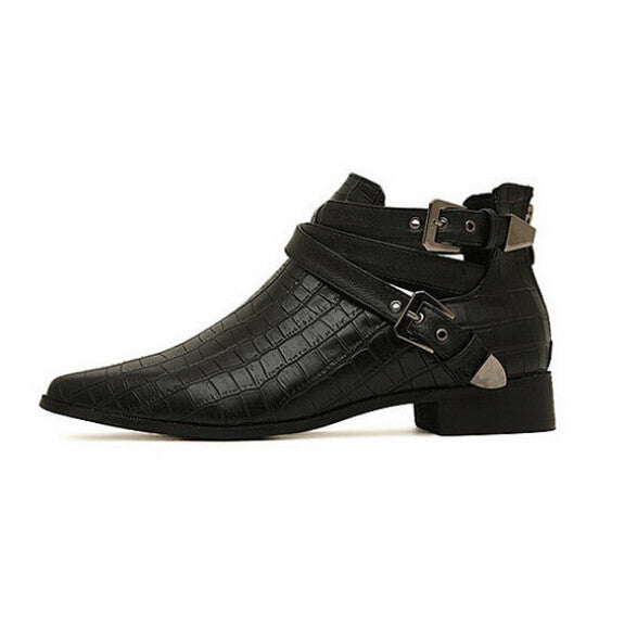 Dani Crocodile Embossed Multi Buckle Ankle Boots | Shop Elettra |