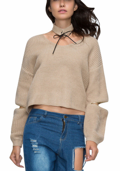 Knit Pullover Sweater with Choker | Shop Elettra |