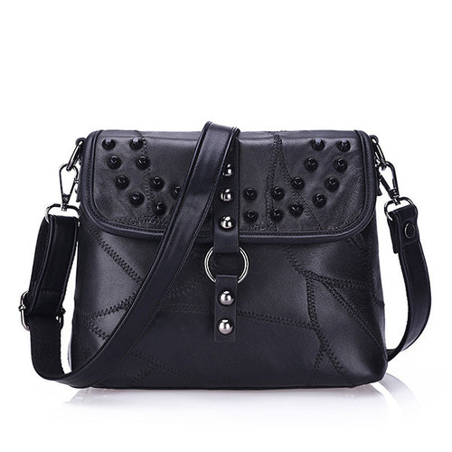 Spike On Studded Genuine Leather Crossbody Bag | Shop Elettra |