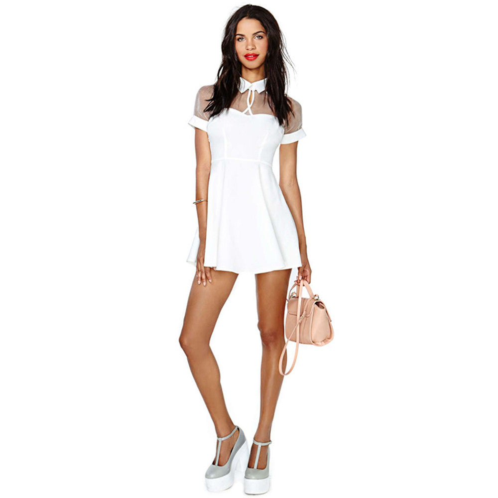 Steff A-Line Collared Short Sleeve Mini Dress | Shop Elettra |