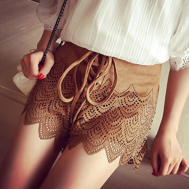 Lita Cross Tie Up Frilly Lace Shorts | Shop Elettra |
