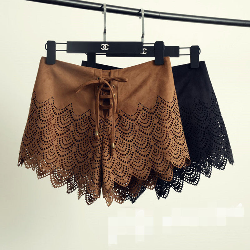 Eyelet Lace Up Shorts | Shop Elettra |