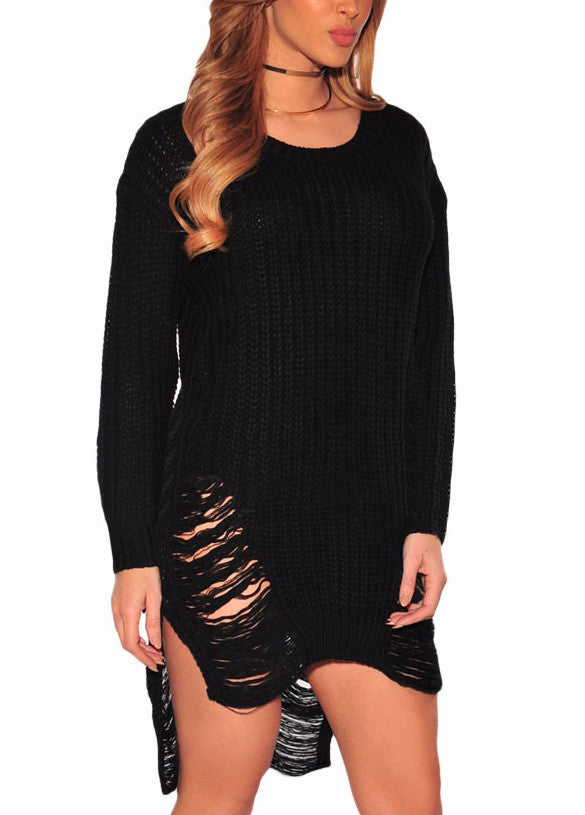 Distressed Cutout Knit Pullover Sweater | Shop Elettra |
