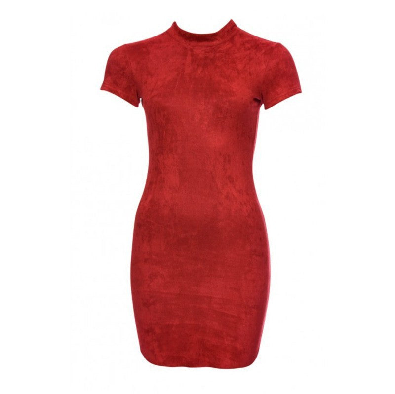 Sandra Suede Body Con Short Sleeve Bandage Mini Dress | Shop Elettra |