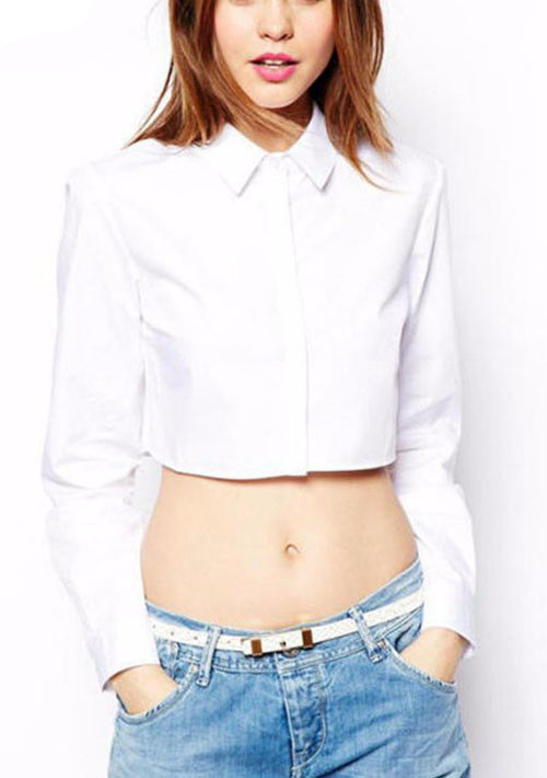 Button Down Long Sleeve Crop Top | Shop Elettra |