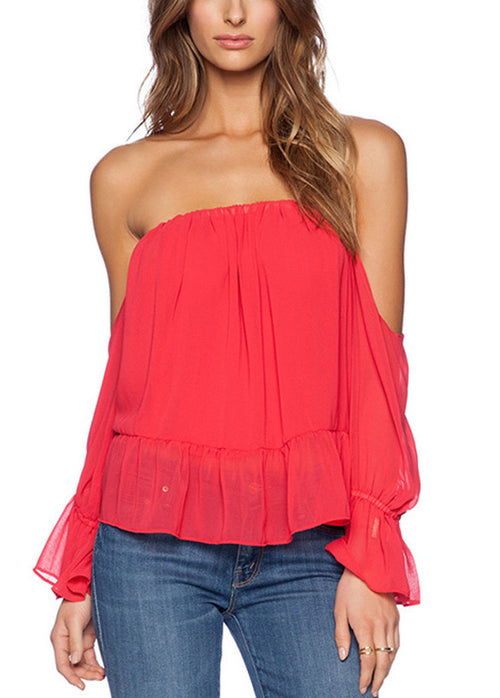 Omnia Off The Shoulder Backless Ruffle Top | Shop Elettra |