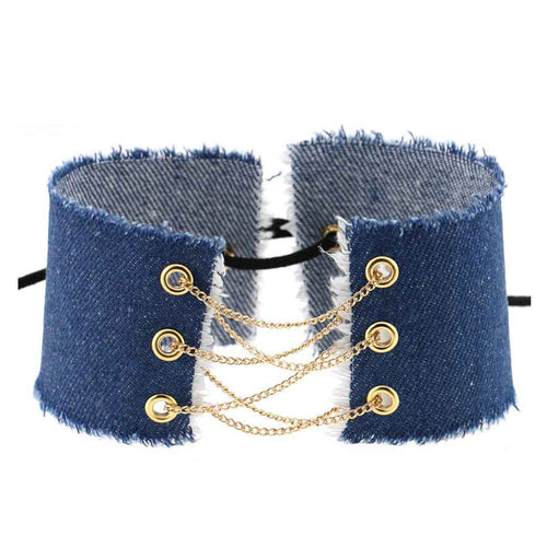 Denim Gold Chain Lace Up Choker Necklace | Shop Elettra |