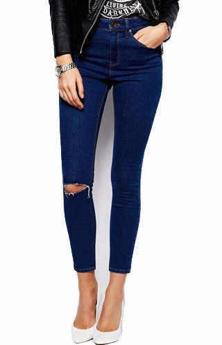 Dark Wash High Waisted Ripped Skinny Jeans | Shop Elettra |