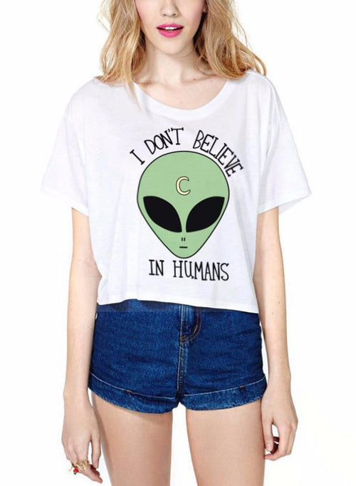 I Don't Believe in Humans Alien Crop Top Tee | Shop Elettra |