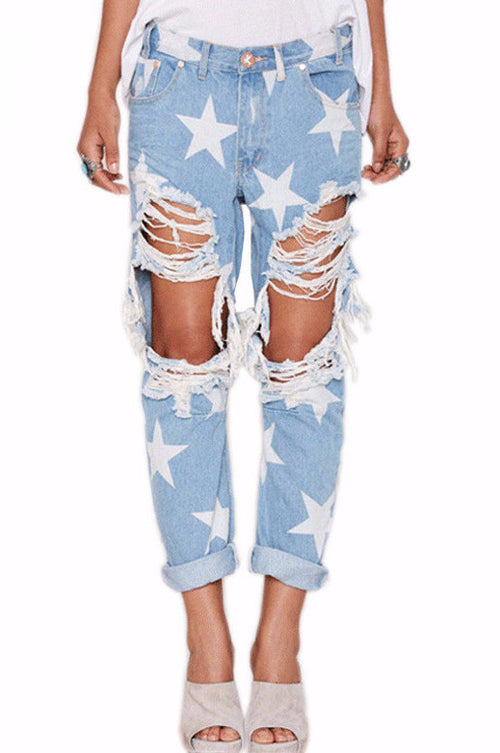 Star Struck Distressed Boyfriend Jeans | Shop Elettra |