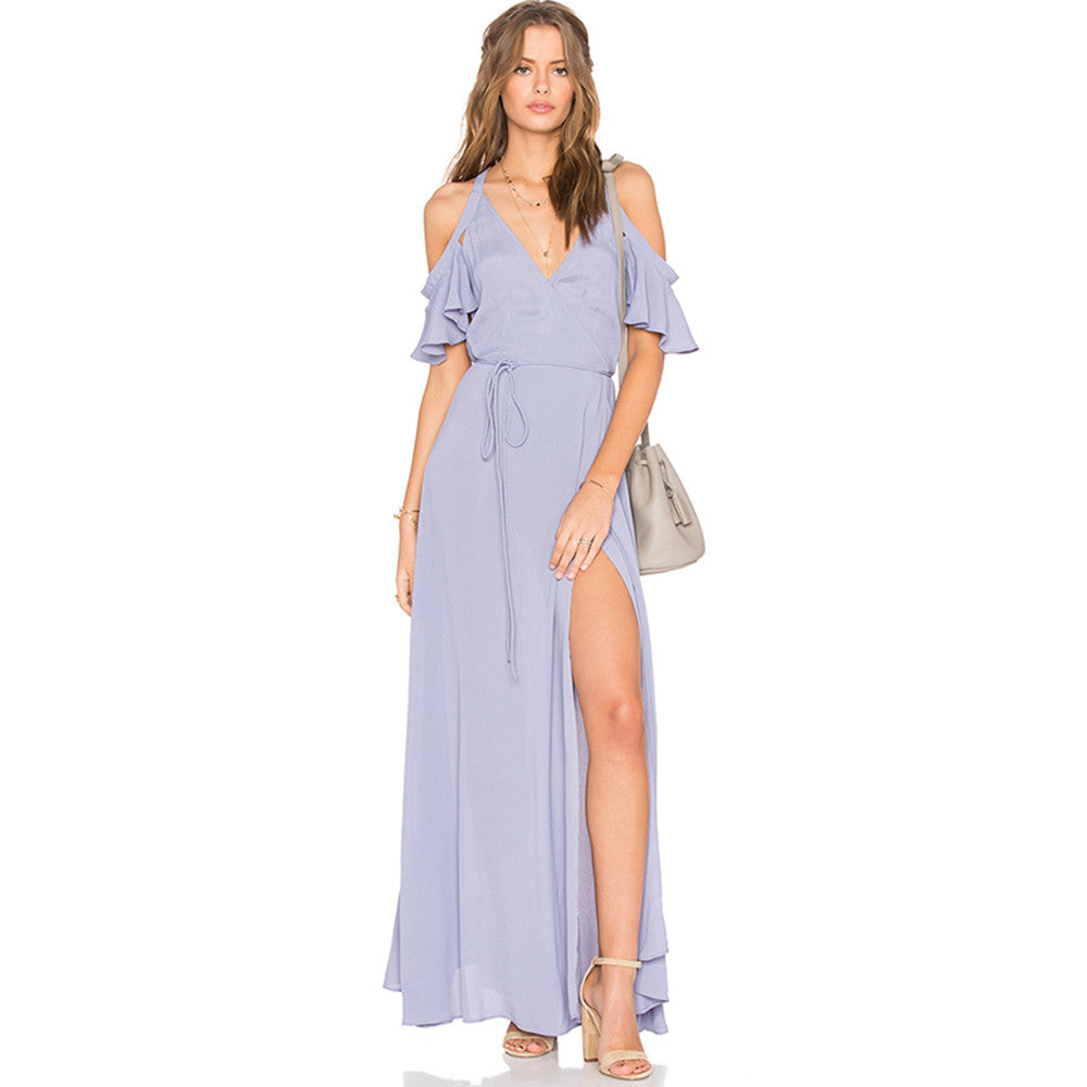 Paulina Lavender Slit Maxi Dress | Shop Elettra |
