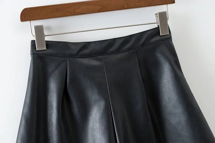 Starboy Button Down Leather Skater Skirt | Shop Elettra |