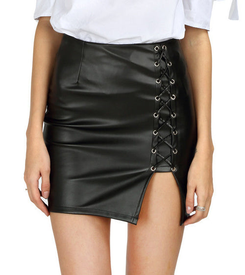 Leather Lace Up Skirt Black | Shop Elettra |