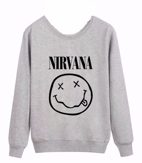 NIRVANA Smiley Face Pullover Sweatshirt | Shop Elettra |