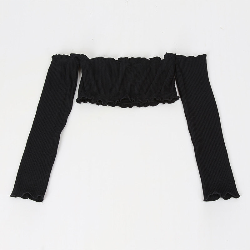 Off The Shoulder Ruffle Trim Long Sleeve Crop Top | Shop Elettra |