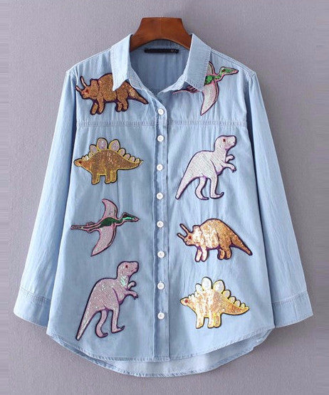 Sequin Dinosaur Denim Button Down Top | Shop Elettra |
