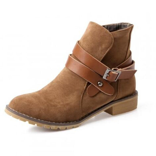 Janie Suede Buckle Wrap Ankle Boots | Shop Elettra |