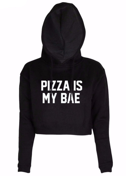 Pizza Is My Bae Cropped Hooded Sweatshirt | Shop Elettra |
