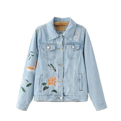 Talia Light Wash Floral Butterfly Embroidered Denim Jacket | Shop Elettra |