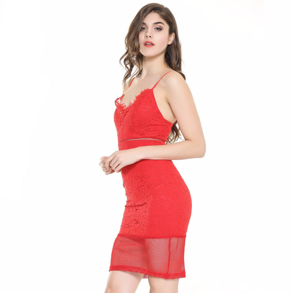 Valentina Red LaceCocktail Dress | Shop Elettra |
