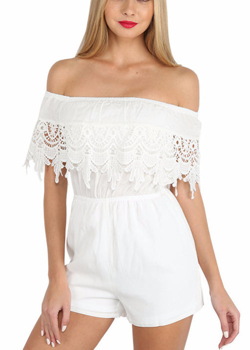 My Darling Lace Trim Romper | Shop Elettra |