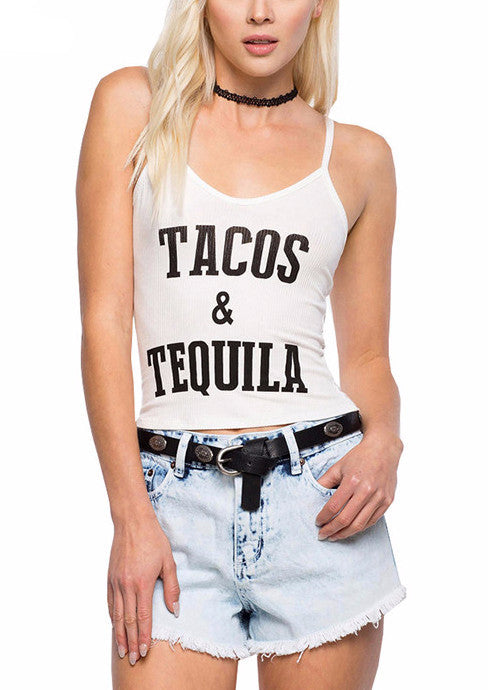 Tacos & Tequila Cropped Tank Top | Shop Elettra |