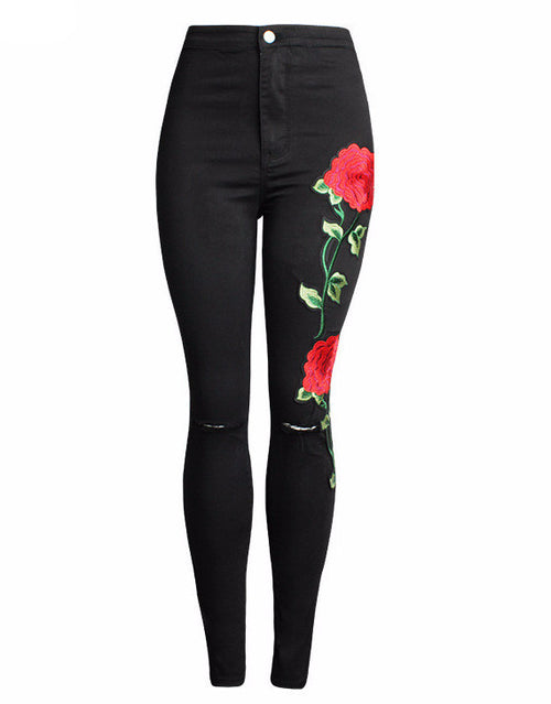 Rose Embroidered Black Skinny Jeans | Shop Elettra |