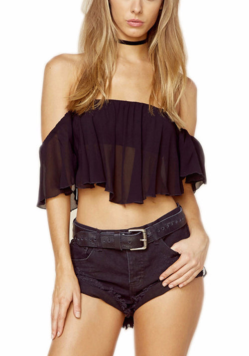 Off The Shoulder Ruffle Crop Top | Shop Elettra |