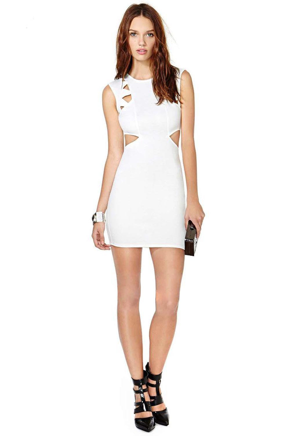 White Cutout Mini Dress | Shop Elettra |