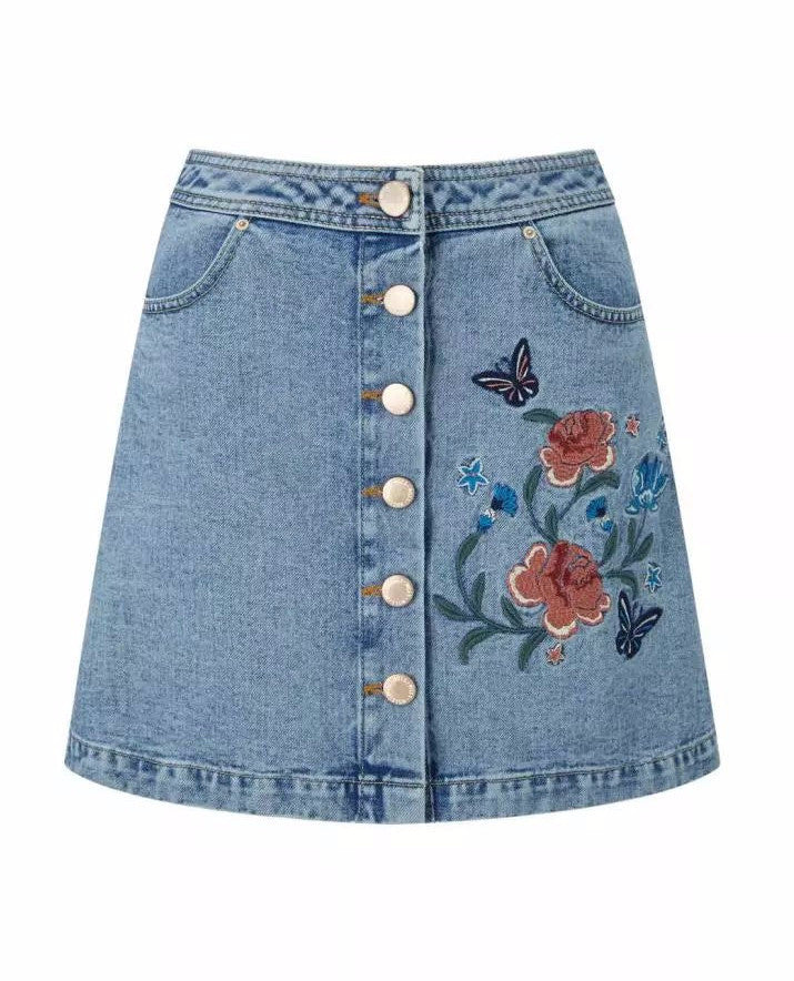 Kelly Embroidered Button Down Denim Mini Skirt | Shop Elettra |