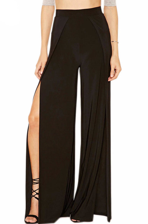 High Waist Slit Cutout Wide Leg Pants | Shop Elettra |