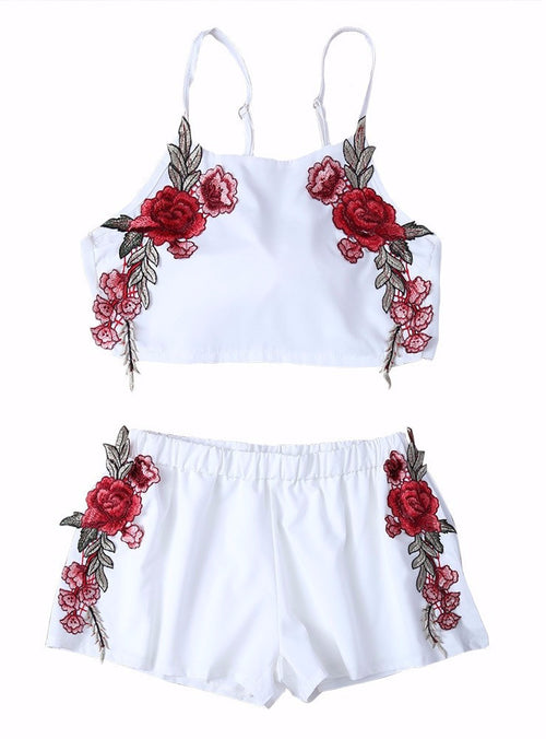 Rose Embroidered Tanktop and Short Matching Set | Shop Elettra |