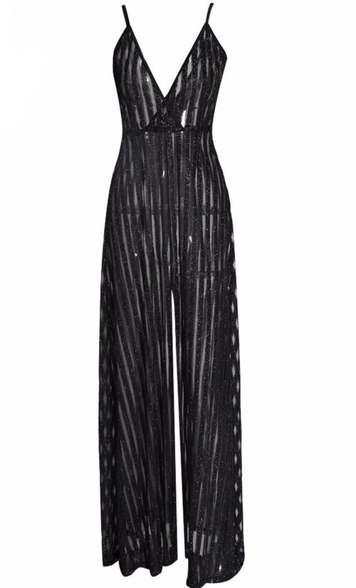 Black V-Neck Sequin Jumpsuit | Shop Elettra |